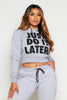 Light Grey Just Do It Later Crop Hoodie