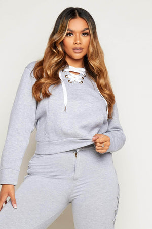 Grey Lace Up Hoodie