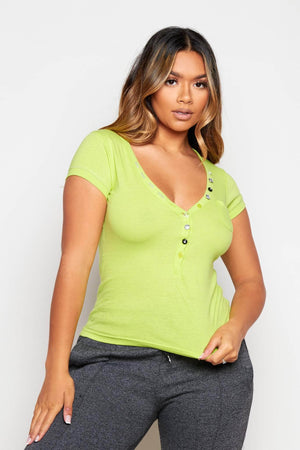 Green T.Shirt with Gem Embellished Buttons