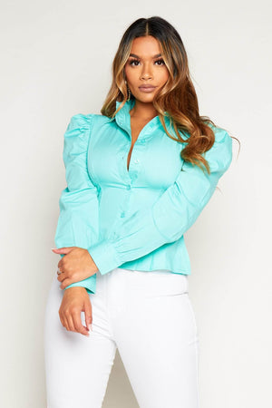 Mint Paneled Peplum Style Cotton Shirt