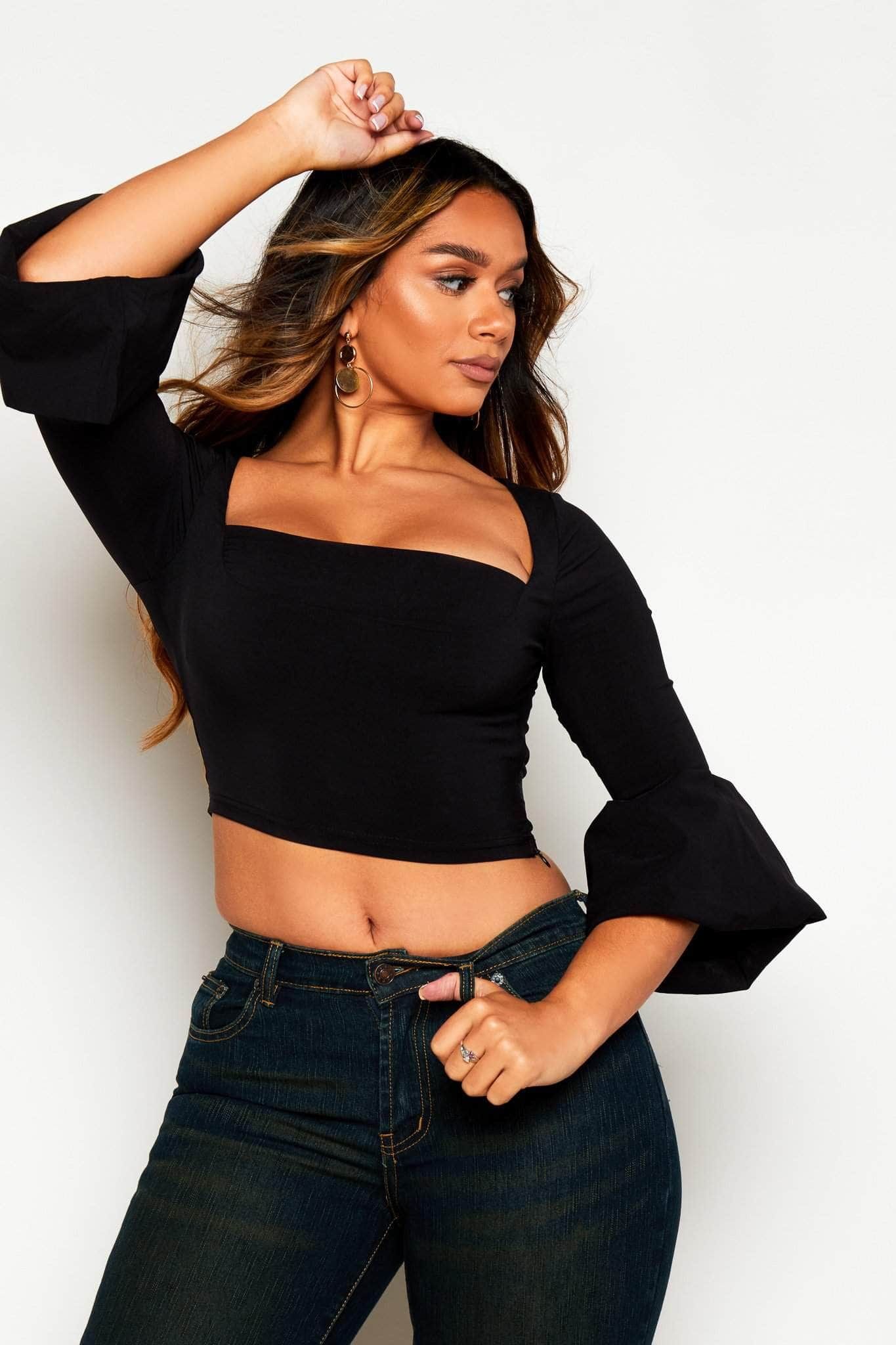 Black Square Neck Flare Sleeve Crop Top
