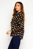 Navy & Orange Polkadot Buttoned Shirt