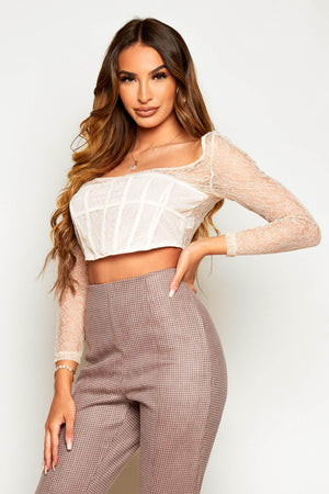 Nude Floral Lace Paneled Crop Top