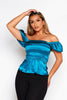 Teal Shirred Off The Shoulder Top