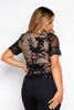 Black Contrast Lace & Sequin Top