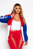 Red Slogan Colour Block Longline Jacket
