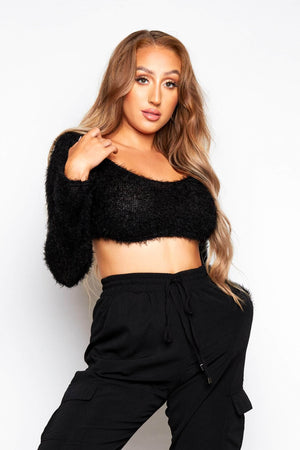 Black Eyelash Knitted Cropped Top