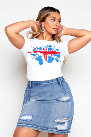 White Union Jack Slim Fit T.Shirt