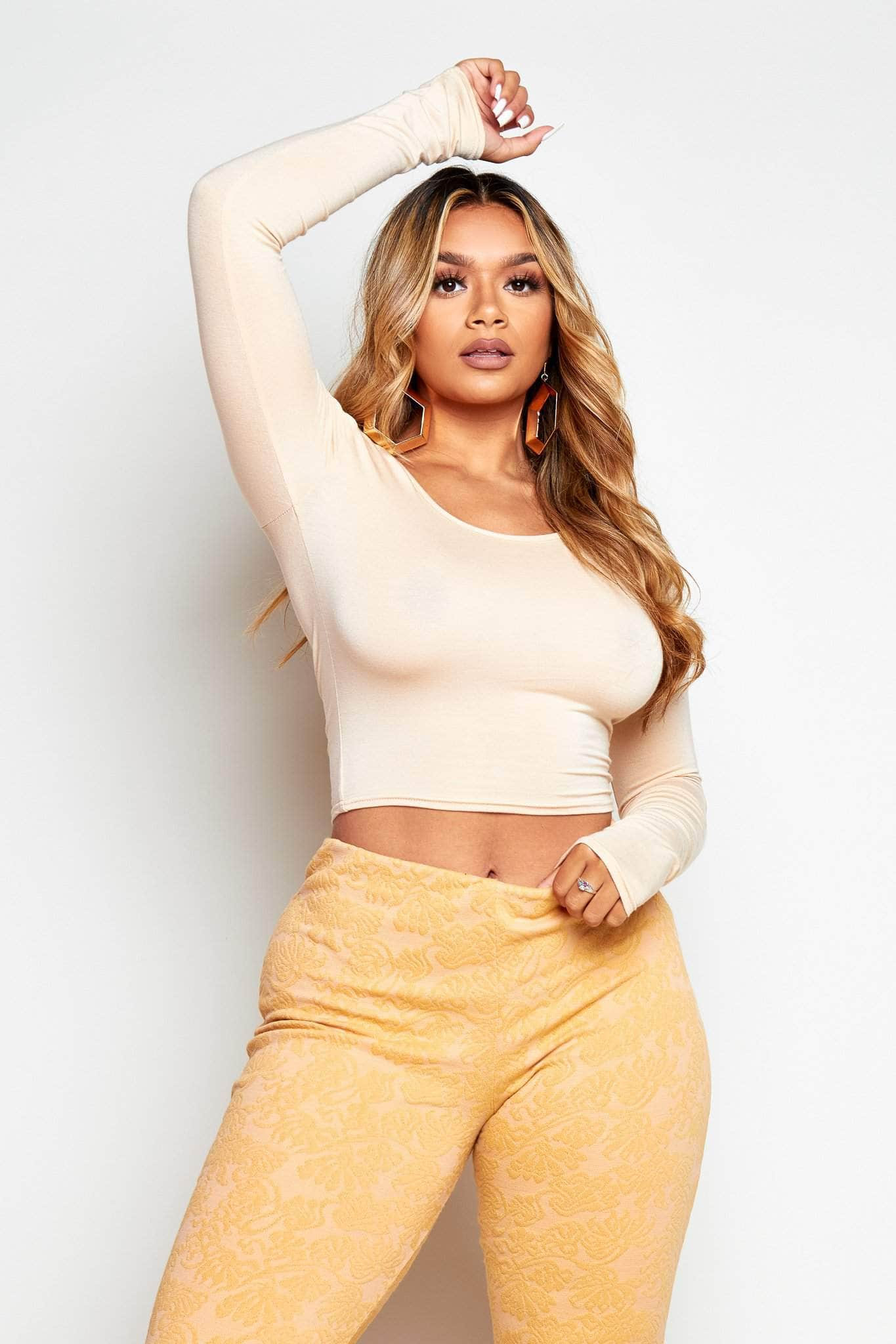 Nude Basic Jersey Long Sleeve Crop Top