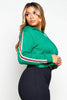 Green Cropped Sports Stripe Hoodie