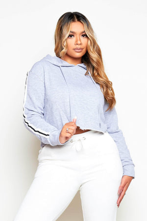 Grey Cropped Sports Stripe Hoodie
