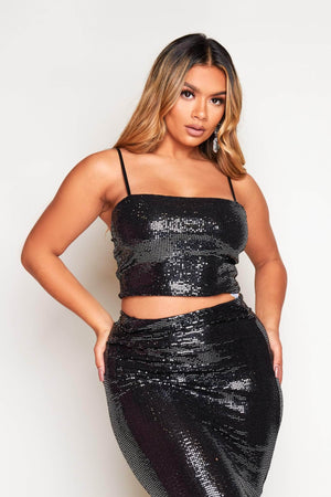 Black Sequin Strappy Crop Top