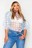 Blue Check Organza Puff Sleeve Top