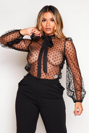 Black Sheer Polkadot Pussybow Blouse