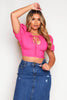 Hot Pink Puff Sleeve Crop Top
