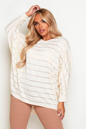 Beige Oversize Mesh Knitted Batwing Top