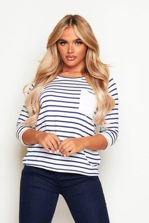 Navy & White Stripe Long Sleeve Jersey Top