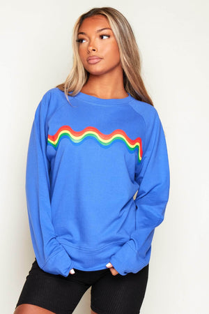 Blue Rainbow Printed Sweater