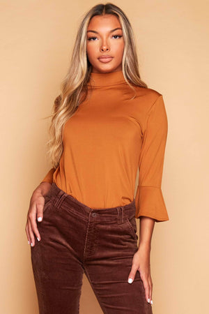 Caramel Stretch Flare Sleeve Top