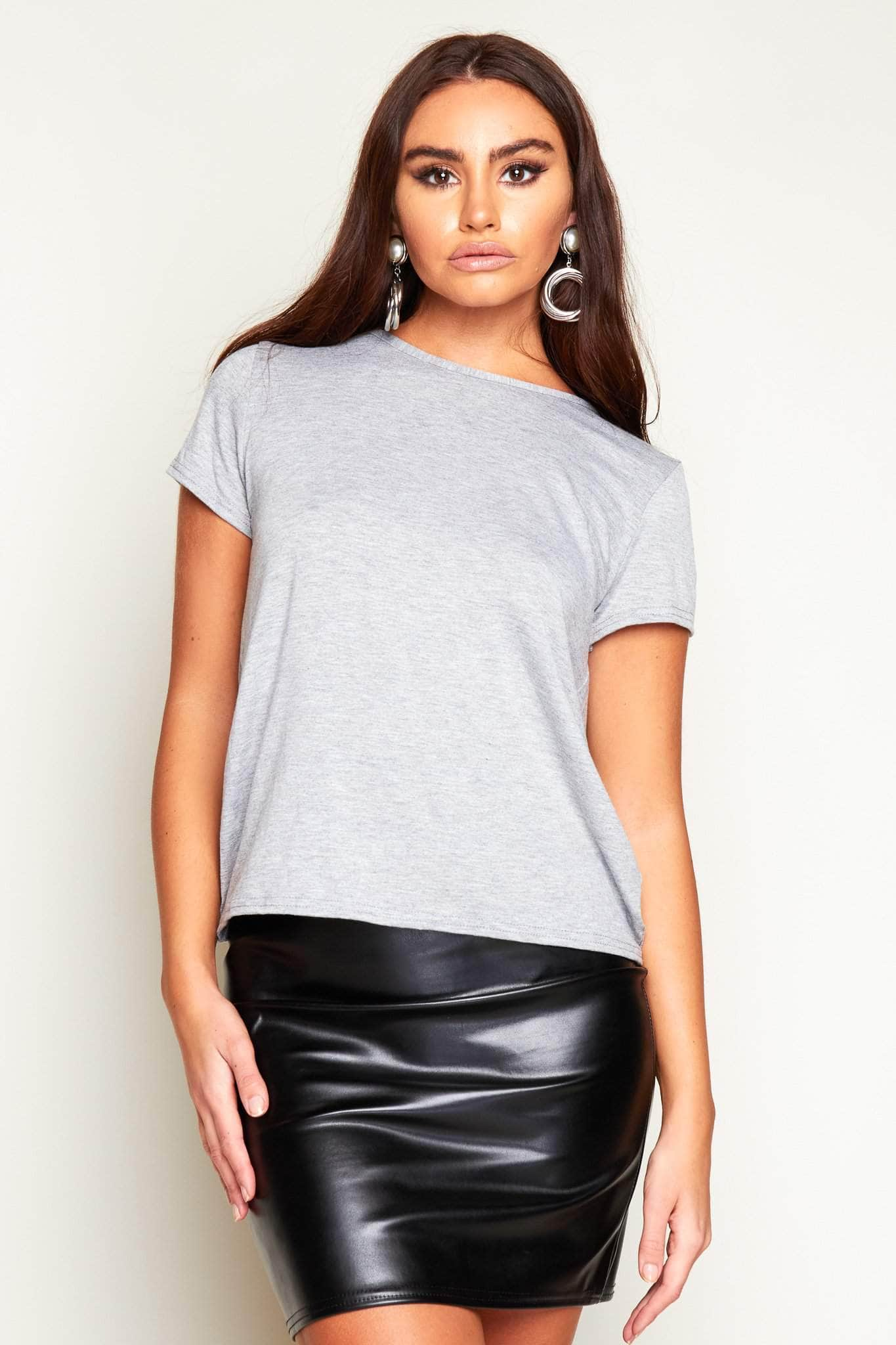 Criss Cross Back Grey Jersey Top
