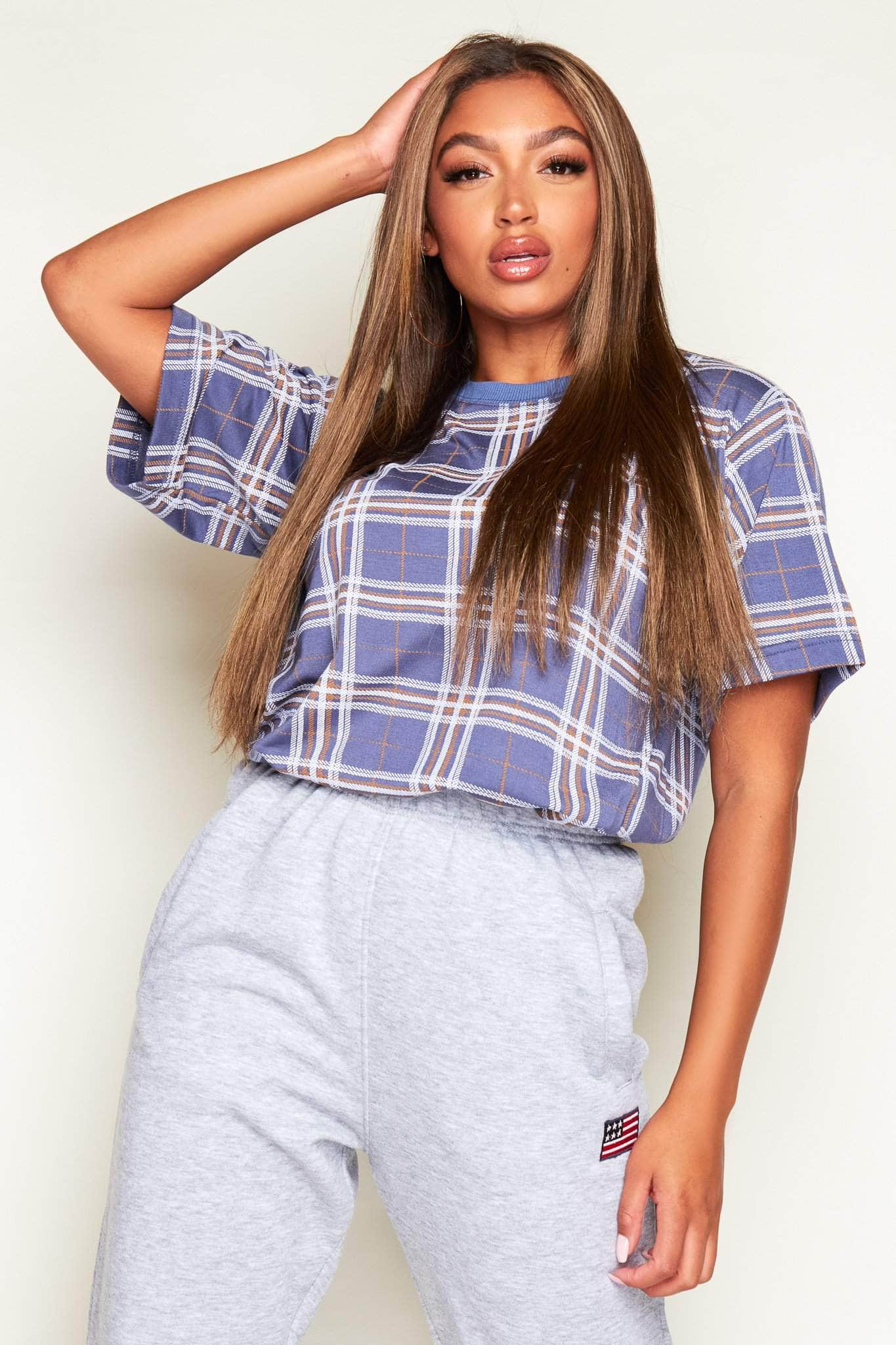 Blue Checked Oversize T.Shirt