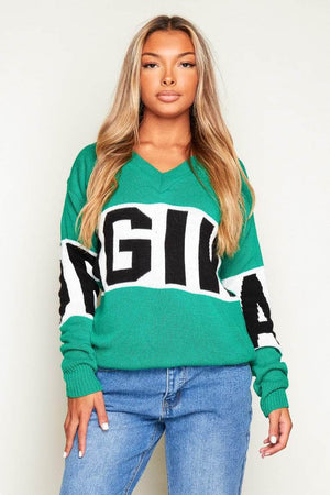 Green Chunky Knitted V Neck Jumper