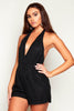 Black Halter Crochet Playsuit
