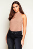 Brown Stripe High Neck Sleeveless Crop Top
