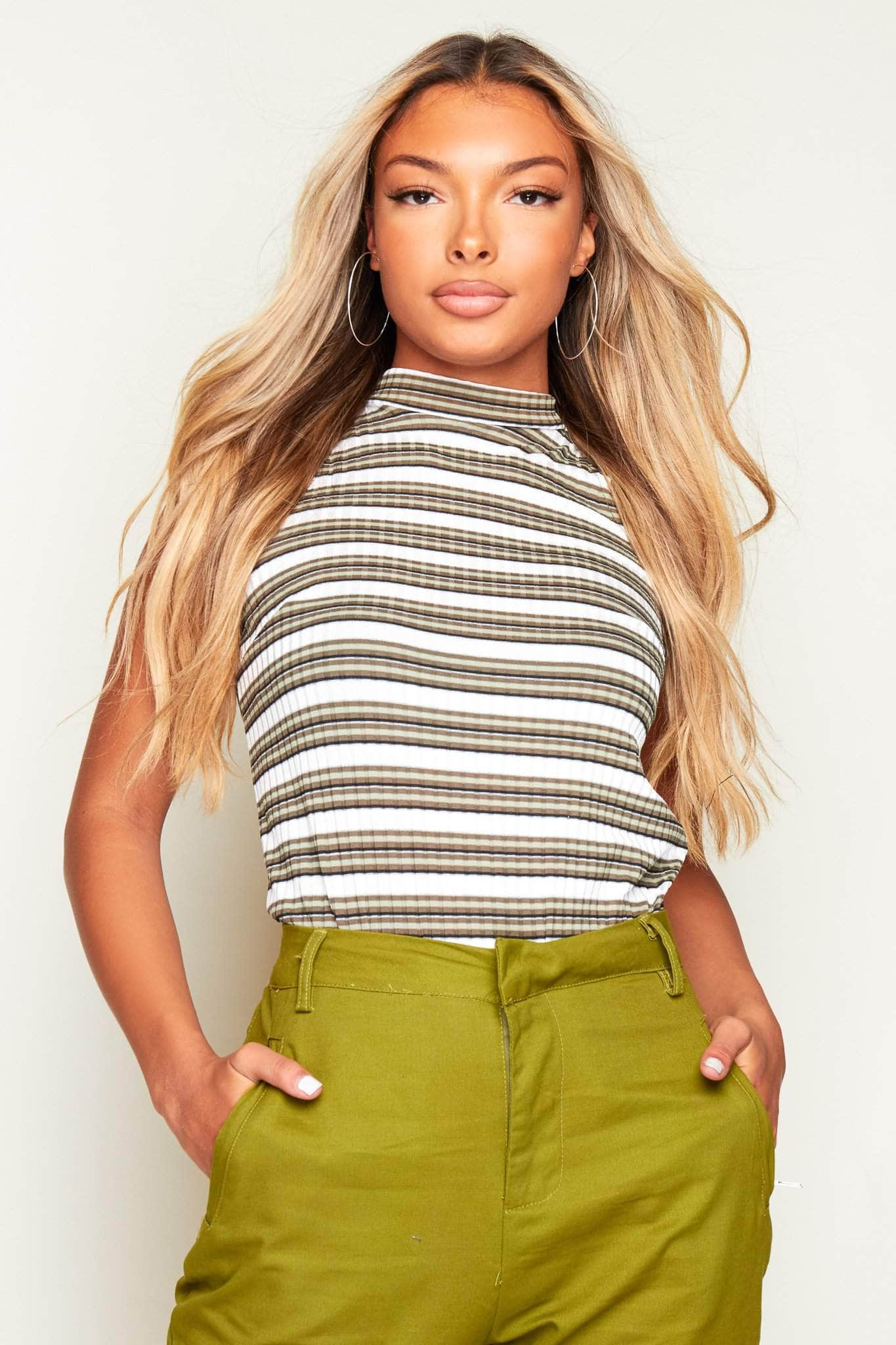 Green & White Ribbed Sleeveless Polo Crop Top