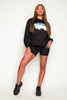 Los Angeles Printed Black Oversize Sweater