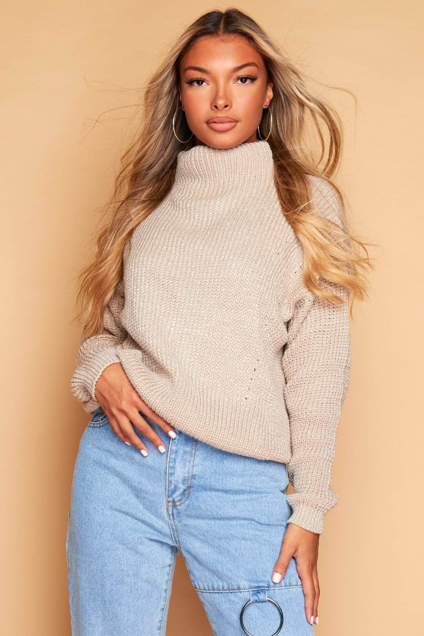 Beige Metallic Chunky Knitted Jumper