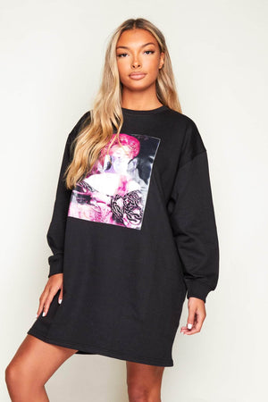 Portrait Printed Oversize Black Jersey Dress