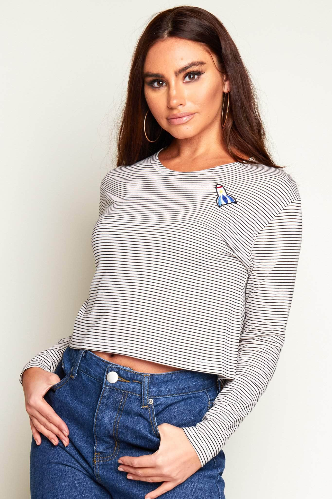 Rocket-Embroidered-Cropped-Stripe-Tee