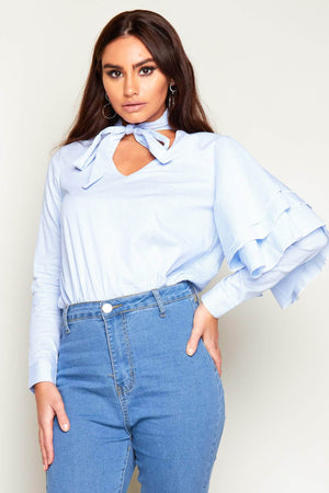 Blue Pinstripe Cut Out Blouse with Layered Arms