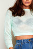 Mint Green Rib Laced Crop Jumper