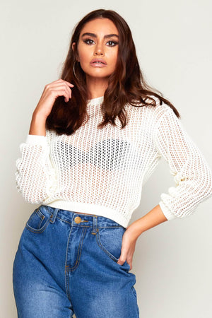 Cream Rib Laced Crop Jumper