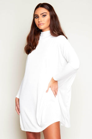 White Ribbed Oversize Stretch Smock Dress