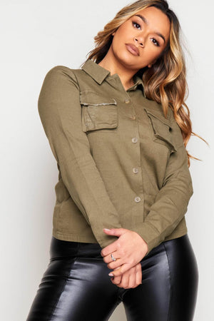 Khaki Distressed Utility Shirt