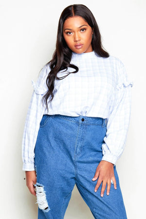 Light Blue Checked Oversize Ruffle Blouse