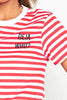Red & White Stripe 'Deja Who' Slogan T-Shirt