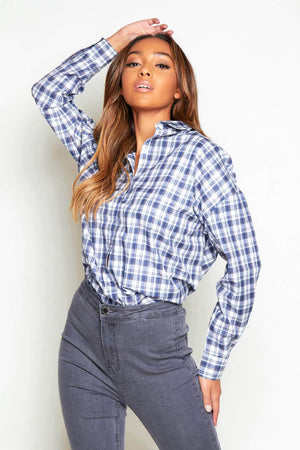 Blue Check Oversize Grandad Shirt