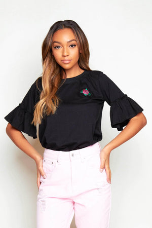Black Ruffle Sleeve T-Shirt with Rose Print
