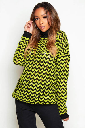 Lime Green & Black ZigZag Knitted Jumper