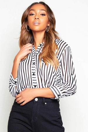 Black & White Stripe Chiffon Shirt