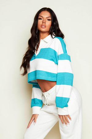 Turquoise Stripe Oversized Rugby Sweater