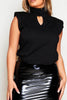 Black Shoulder Pad Sleeveless High Neck Top