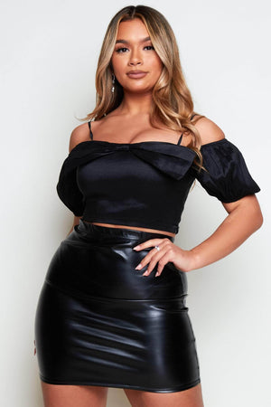 Black Bow Front Off The Shoulder Crop Top