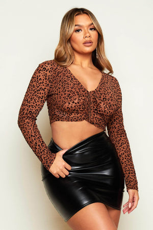 Brown Leopard Print Mesh Front Ruched Tie Crop Top