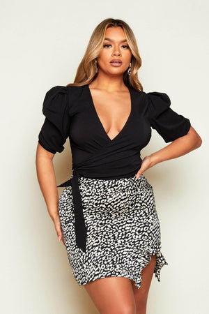Black Cropped Wrap Top