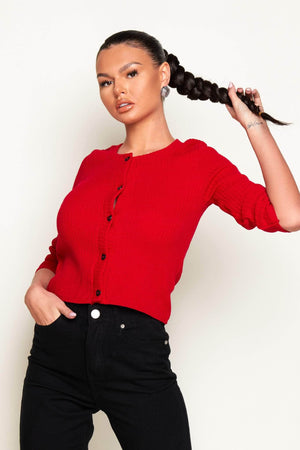 Red Rib Knit Button Front Jumper
